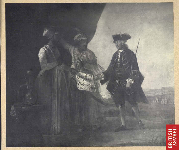 Mir Jafar and his son Miran delivering the Treaty of 1757 to William Watts