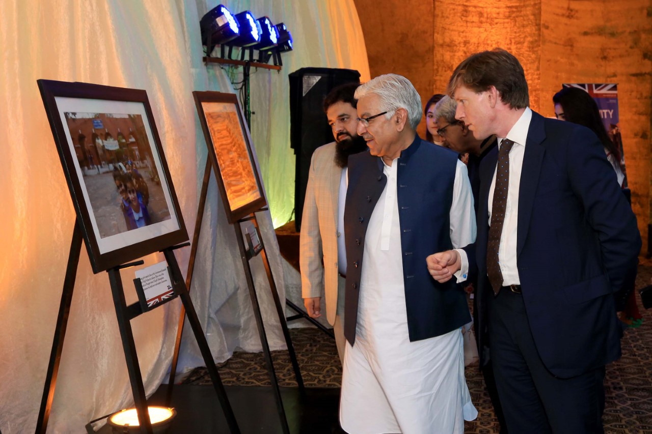The Acting British High Commissioner Mr Richard Crowder makes a speech during his visit to the 70th anniversary of UK-Pakistan relations photo exhibition at the Classic School System in Sialkot.