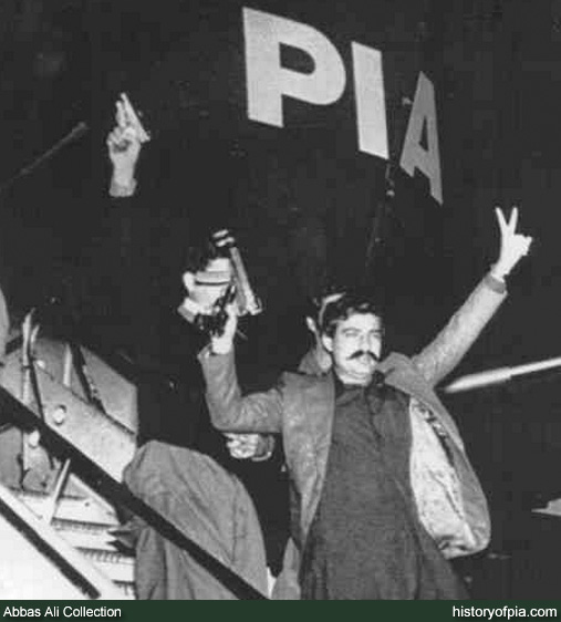 Armed PPP hijackers coming out of the PIA plane at Kabu Air Port in Afghanistan