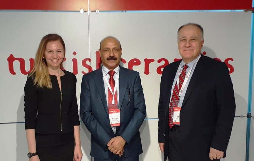 Dr Shahid Qureshi, Senior British Journalist and Chief Editor of The London Post, with Miss. Erinç Tarhan, Manager of Cement, Glass, Ceramics and Soil Products Exporters' Association, Mr. Özkan Aydın is the Secretary General of The Central Anatolian Exporters Association at the booth in Expo 2020.